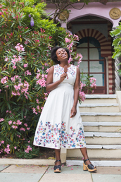 dress,tumblr,floral,floral dress,midi dress,sleeveless,sleeveless dress,sandals,mid heel sandals,summer dress,shoes