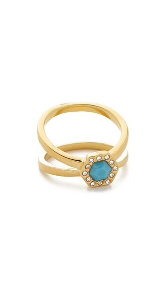 ring gold white turquoise jewels