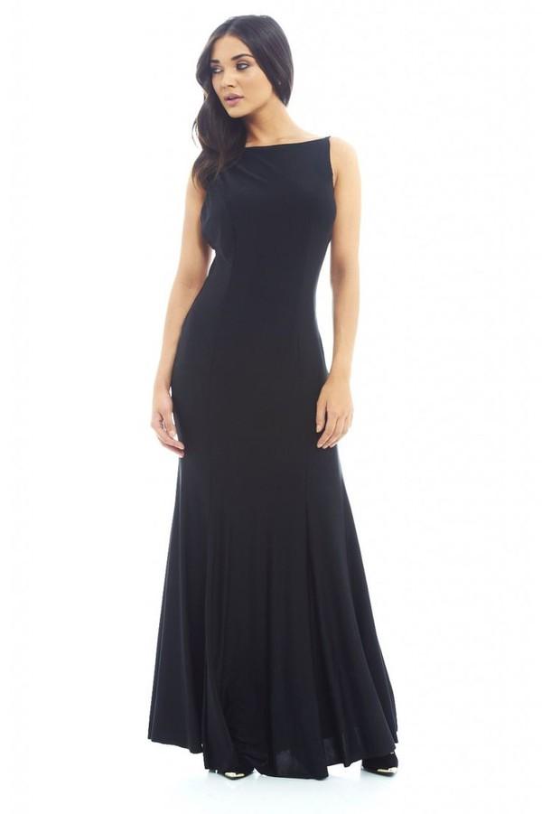 black maxi dress scoop back dress fish tale dress slinky dress sleeveless maxi dress www.ustrendy.com
