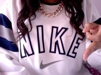 sweater white grey navy crewneck sweatshirt nike gold necklace