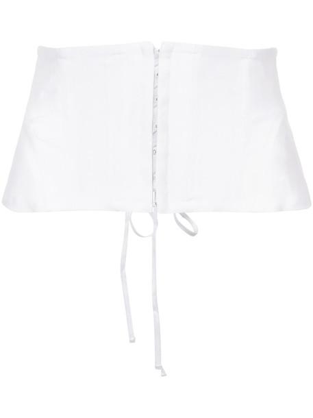 Fleur du Mal corset belt women belt white silk