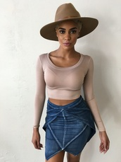 skirt,denim skirt,mini skirt,summer outfits,cute outfits,fashion,style,hat