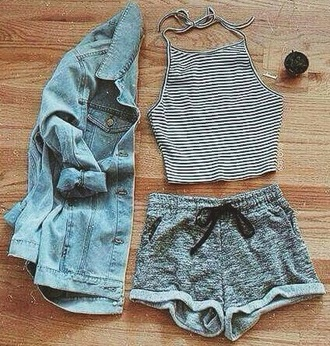 top halter top black and white stripes grunge jean jacket shorts summer shorts high waisted shorts halter crop top crop crop tops striped shirt stripes black and white grey sweatpants jacket shirt tank top striped top