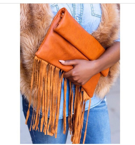 bag accessories style fringes fringed bag fashion cognac clutch handbag