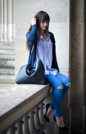 meet me in paree blogger cardigan jeans shirt bag shoes