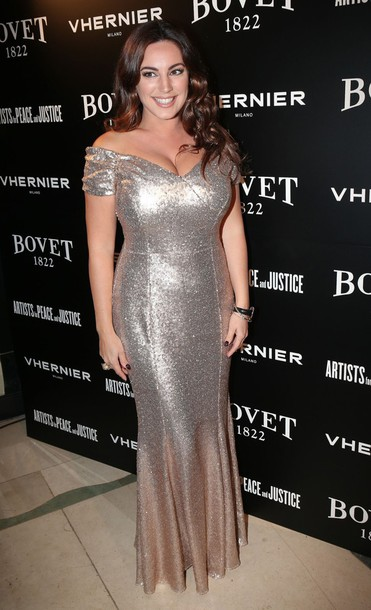 Dress: gown, sequins, sequin dress, kelly brook, metallic, long ...