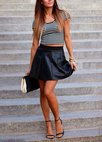 skirt shirt leather skirt striped shirt jewels black and off white bag black & white top with scratch simply black shoes gold and white