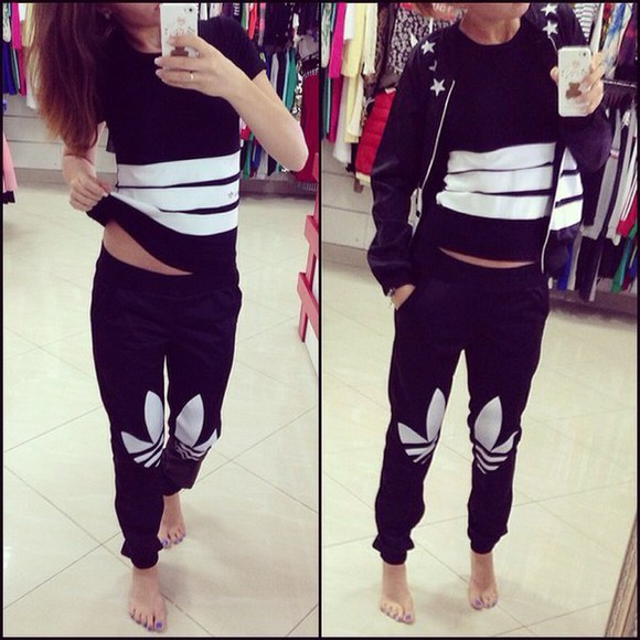 zip jacket jumpsuit adidas 3stripes black white tracksuit pants stars sportswear sporty style outfit sweater
