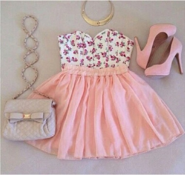 dress flowers top skirt bag
