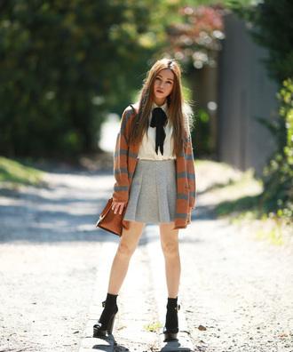 chloe ting blogger cardigan skirt blouse shoes bag
