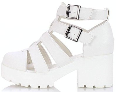 899f21383a8f5 Womens Ladies Faux Leather Chunky Mid Block Heel Cut Out Strappy Platform  Cleated Sole Fashion Ankle Shoes ...