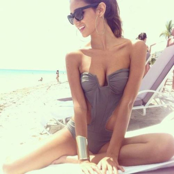 swimwear grey bodysuit summer sexy