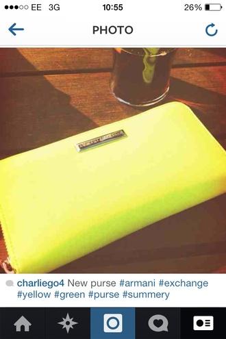 bag armani purse armani exchange yellow green summer