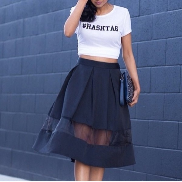 skirt black mesh long