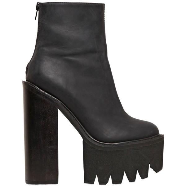 JEFFREY CAMPBELL 155mm Mulder Calf Leather Boots - Black - Polyvore