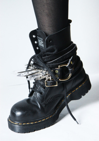 boots punk shoes grunge black shoes crystals doc. martens boots black shoes black edgy hot rock jewels goth stud gothic dark strap bracelet leather studded bracelets docs harness