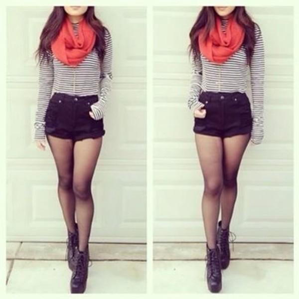 scarf shirt shorts shoes