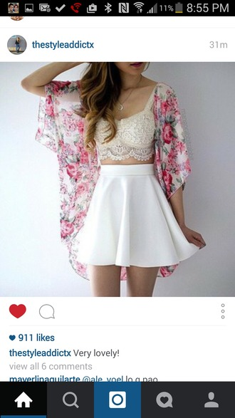 cardigan lace bralette floral kimono summer outfits skater skirt white skirt skirt blouse tank top fashion white plain soft short at knee heigh floral white jacket crop tops
