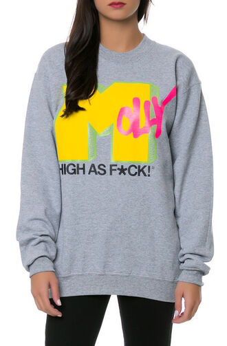 sweater top molly high ad fuck grey pink black yellow oversized sweater oversized