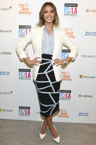 skirt pencil skirt midi skirt jessica alba blazer pumps blouse celebrity work outfits work outfits office outfits printed skirt shirt blue shirt white blazer pointed toe pumps white pumps celebrity style celebrity