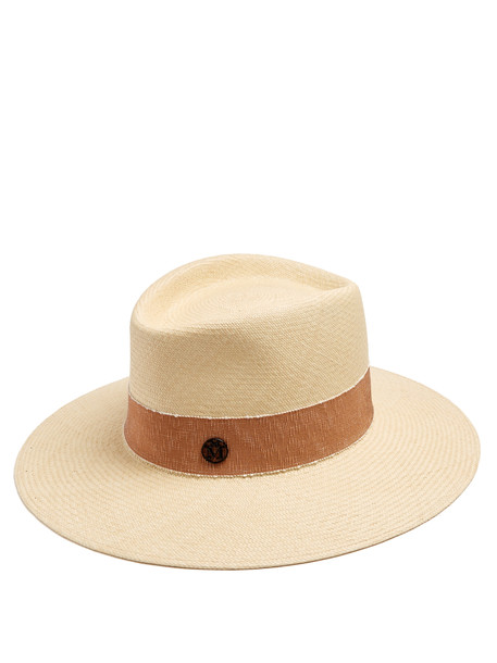 MAISON MICHEL Charles Timeless Cuenca straw hat in beige / multi / beige