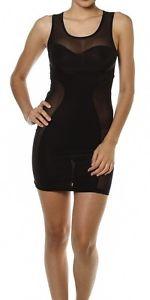 Sexy Black Sheer Mesh Panels Inset Sleeveless Club Bodycon Mini Dress M   eBay