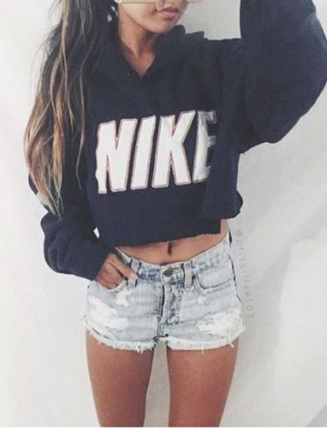 sweater nike nike sweater cropped sweater navy blue sweater