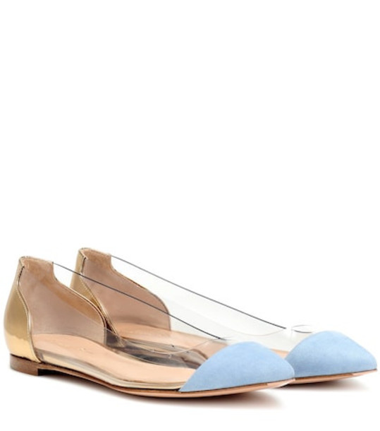 Gianvito Rossi Plexi leather and suede flats in gold
