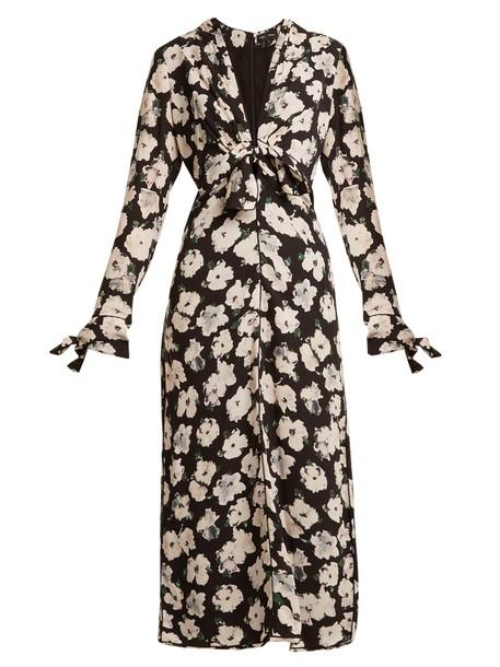 dress midi dress midi floral print silk black