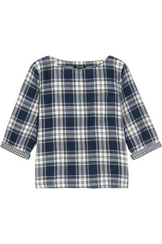 top flannel top plaid cotton blue flannel