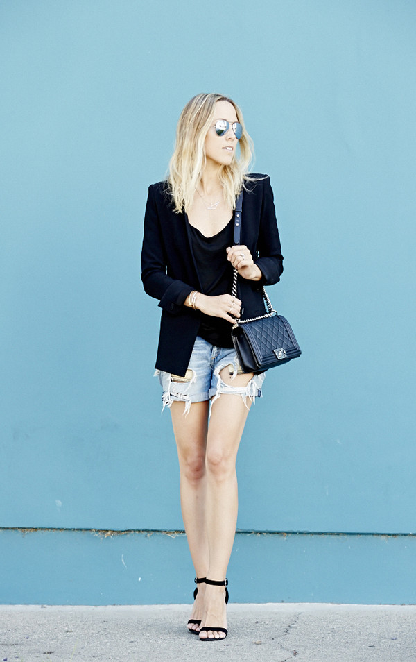 damsel in dior jewels shorts tank top jacket shoes sunglasses