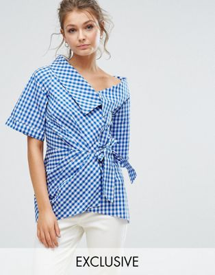 Closet London Wrap Front Top in Gingham at asos.com