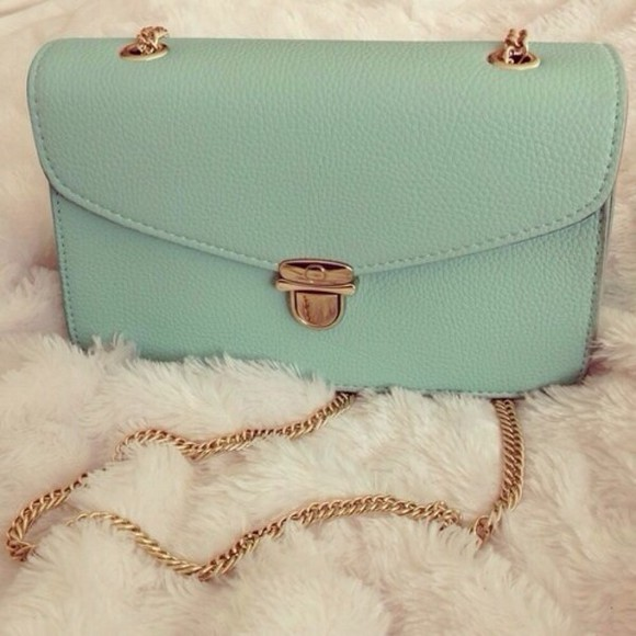 teal bag gold chain, purses