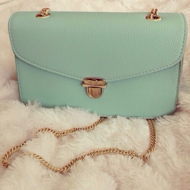 bag gold chain purse teal top collar cream sleeveless back to school