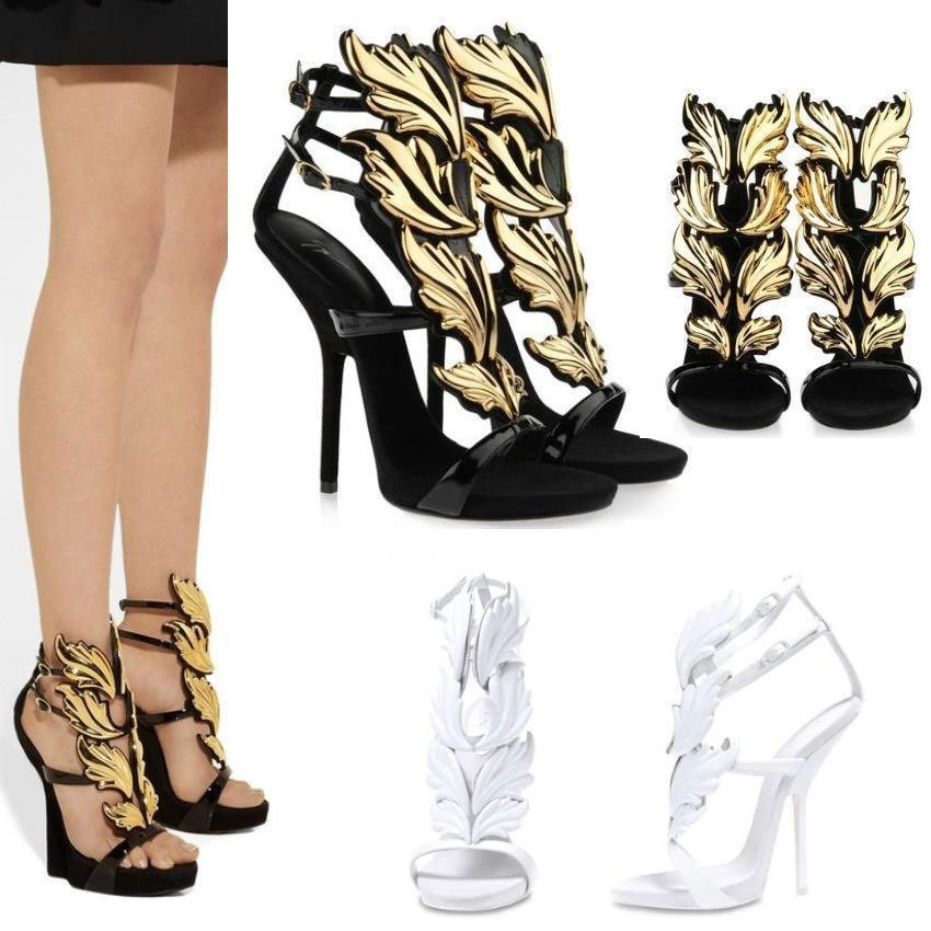 Women White Gold Leaf Gladiator Sandals High Heel Shoes Boots | eBay