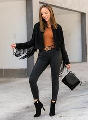 sydne summer's fashion reviews & style tips,blogger,jacket,jeans,shoes,sweater,belt,fall outfits,fringed jacket,ankle boots