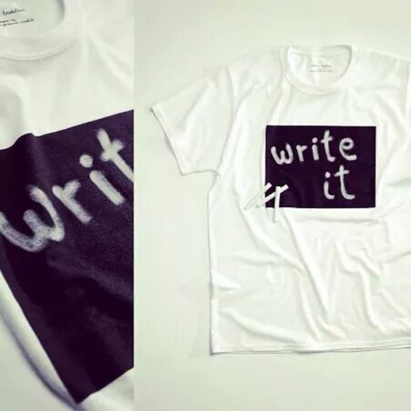 t-shirt white shirt write on chalk