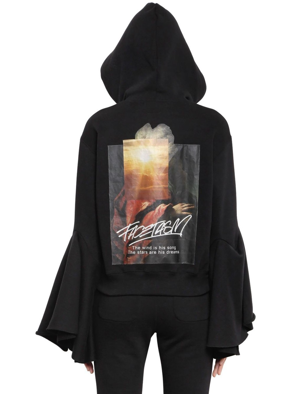 FACETASM Hooded Flared Sleeve Cotton Sweatshirt in black