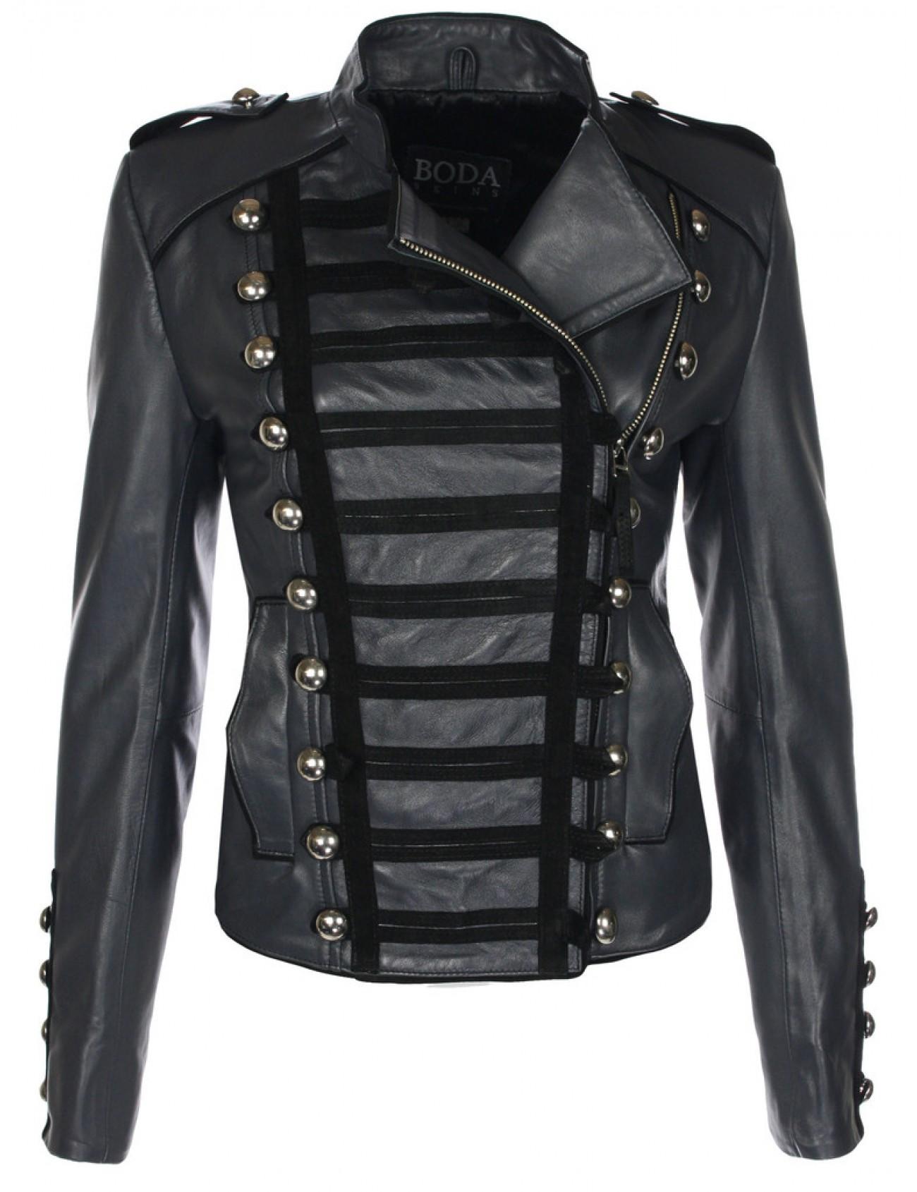 Napoleon Charcoal Grey Leather Military Jacket - Boda Skins