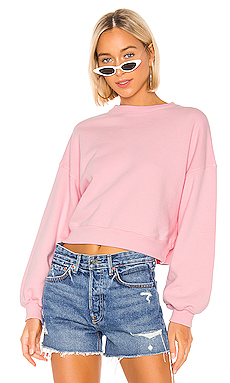 AGOLDE Balloon Sleeve Cropped Sweatshirt in Baby Pink from Revolve.com