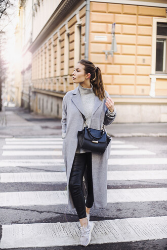 katarina lilius the next episode blogger coat pants shoes bag streetwear h&m adidas mango streetstyle masculine coat black leather pants leather pants grey coat
