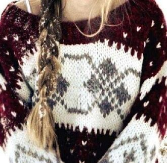 sweater comfy warm winter sweater white pattern red burgundy grey cute knitwear knitted sweater christmas christmas sweater blonde hair braid holiday season