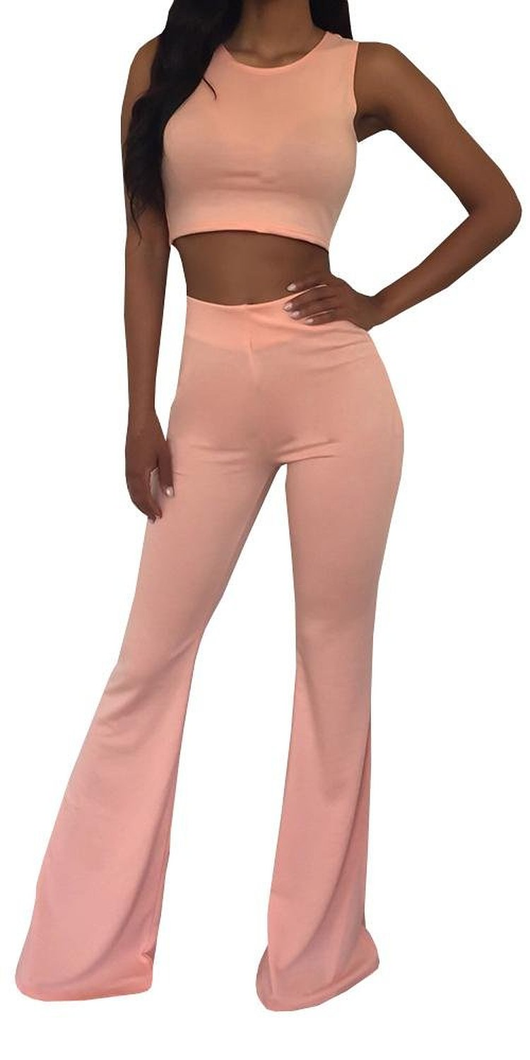 Amazon.com: Ybenlow Womens Pure Color Plain Sleeveless Tank Solid Crop Top Flare Pants Set: Clothing
