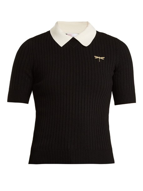 REDValentino shirt polo shirt embroidered dragonfly knit black top