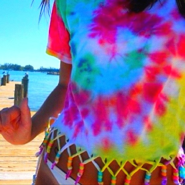 t-shirt tie dye t-shirt beach swimwear beach beaded knots colorful summer criss cross tie dye shirt bright