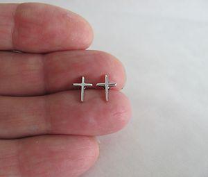 Sterling silver 9mm slender plain cross post stud earrings