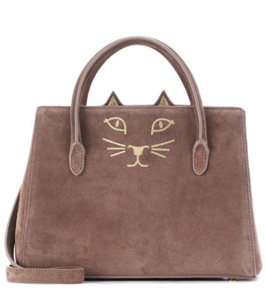 charlotte olympia suede brown bag