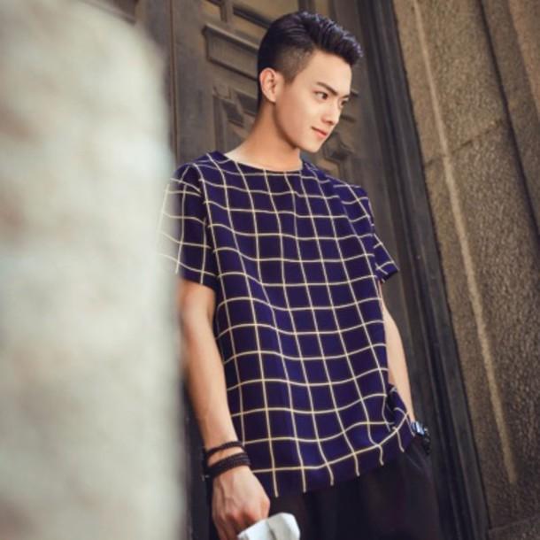 shirt grid menswear mens blue where blue shirt t