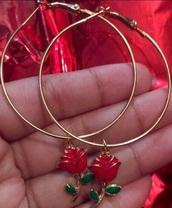 jewels,roses,hoop earrings,charms,gold hoops