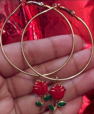 jewels roses hoop earrings charms gold hoops